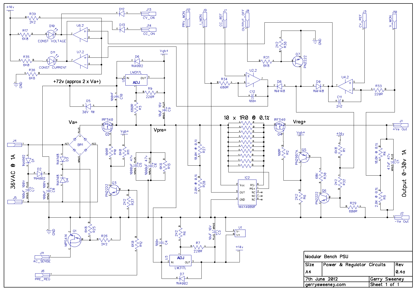Precision Lab Power Supply Schematic Circuit Diagram Symbols 10a 1 30v Variable With Lm317