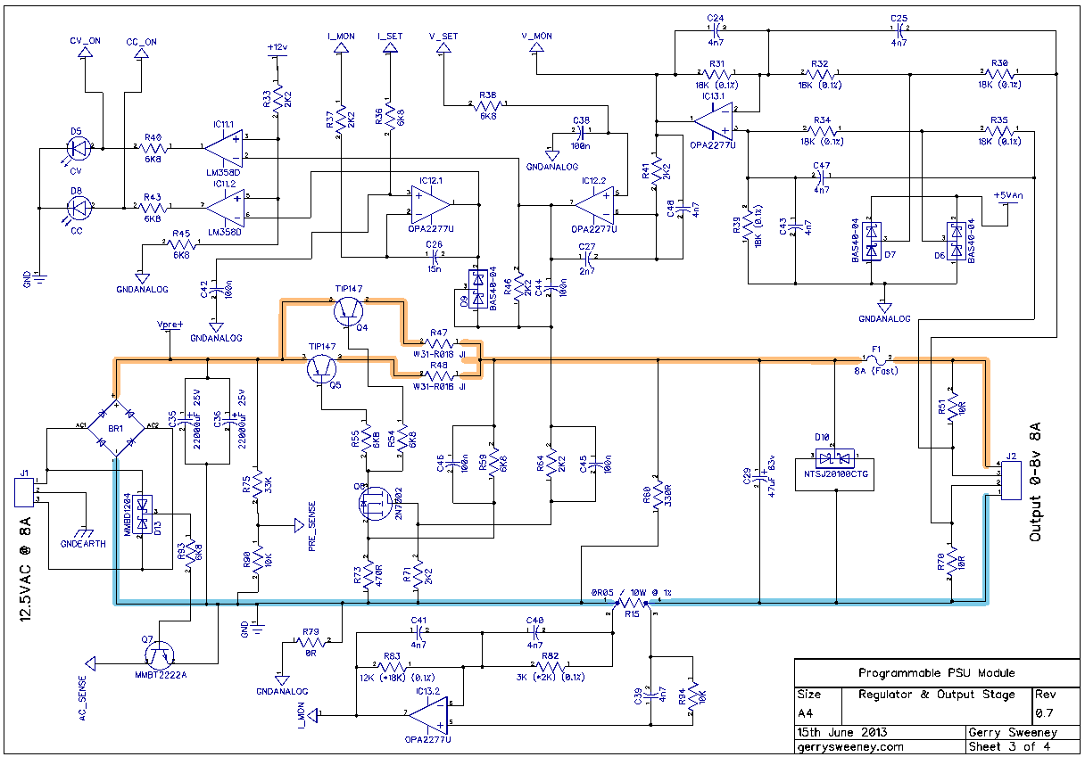 Diy Benchtop Power Supply Fuse Wiring Diagram 45 Regulated Circuit Using 741 Op Amp Ic And 2n3055 Psu 07 3 Fully Programmable Modular Bench Part 14 At